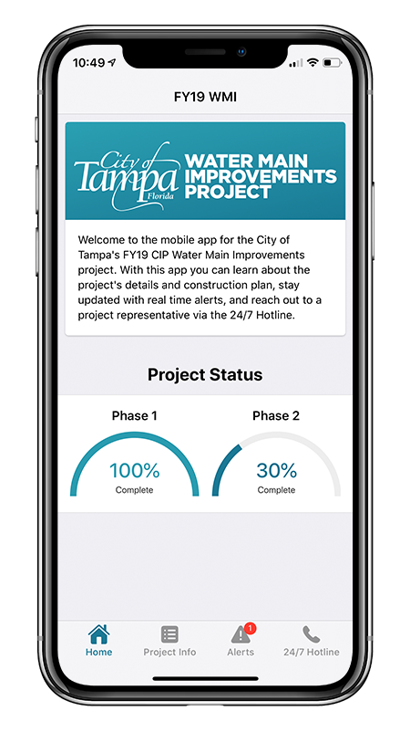 Phone with the City of Tampa Water Main Improvements Project mobile app showing on the screen